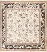 Vegetable Dye Floral Ivory Wool/ Silk Tebriz Area Rug Hand-knotted 10x10 Square