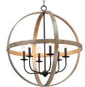 Maxim 27576 Compass 6 Light 30w Taper Candle Chandelier - Barn Wood / Black