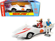 Mach 5 Five White With Chim-chim Monkey And Speed Racer Figurines 1/18 Diecast Car