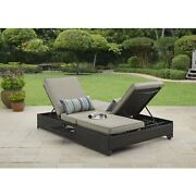 Outdoor Patio Sofa Daybed Adjustable Cushioned Sofa Seat Double Beach Lounger