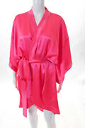 Filles A Papa Womens Hot Pink Silk Extoica Kimono Robe Open Front Belted Size 2