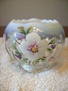 Fenton H/p Signed By B.williams French Opal Rose Bowl