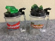 """Two Budweiser Talking Mugs-""""bud-weis-er""""-""""could Have Been Huge""""-frog-lizard"""