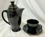 Vintage Fiesta Ware Black 9 Tall Teapot / Coffee Server With Tea Cup And Saucer