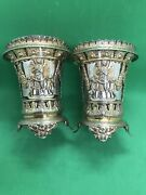 Antique Italian Solid Silver Gilt Vases Roman Style Beaker Cup Form By G Palma
