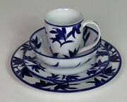 Pier One 1 Ming Dinnerware 4-piece Place Setting Blue And White 2 Plates Bowl Cup