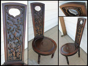 Antique Ironwood Jacobean Prayer Chair Detailed Carved Birds And Cherry Blossoms