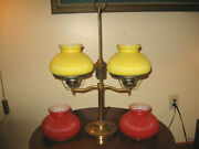 Vtg Yellow And Red Ribbed Glass Brass Double Student Desk Table Lamp 2 Pair Vgc