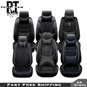 Seat Covers 5 Seats Car Luxury Black Pu Leather Full Set With Pillow Universal