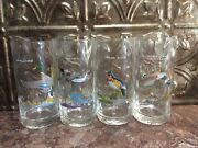 4 Vintage Ned Smith Duck High Ball Glasses 5 1/2 Tall Game Birds Gold Rim