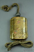 Japanese Gold Lacquer Four-case Inro With Soft Metal Ojime Bead Signed 19th C.