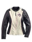 New Harley Davidson Women Pink Label Collection Leather Jacket White/beige