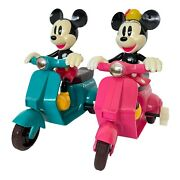 Disney Mickey Mouse And Minnie Wind Up Scooter Toy Vintage Tokyo Disney Set Of 2