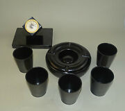 Vintage Black Bakelite Table Set - Desk Thermometer 5 Cups And Ashtray