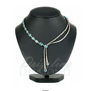 Natural Apatite Diamond Designer Necklace 925 Sterling Silver Womens Jewelry