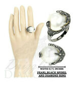 Natural Freshwater Pearl Pave Diamonds 925 Sterling Silver Black Spinel Rings