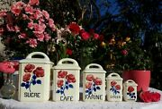 5 Very Rare Antique French Canisters Hbcm Red Roses Hand Painted Art Deco 1920s