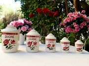5 Very Rare Antique French Canisters Sarreguemines Red Roses Art Deco 1940s