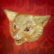 Victorian Style Fox Brooch 9ct Gold Ruby Eyes Dated 1987