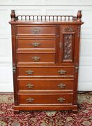 Antique Walnut Victorian Lockside Tall Chest With Full Body Owls Carved Gallery