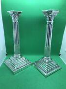 Pair Of Antique Sterling Solid Silver Column Candlesticks Sheffield Birm 1926-36