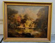 Paul Gottlieb Weber 1852 Antique Oil Painting End Of Summer Landscape Pa Germany