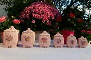 6 Gorgeous Antique French Canisters Carmen Pink Roses Gilded Art Deco 1930s