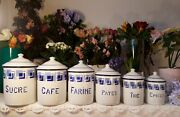 6 Antique Enameled French Canisters White And Blue Checks Art Deco 1930s