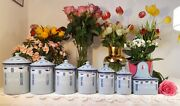 7 Superb Antique Enameled French Japy Canisters Set Blue Art Deco 1920 Very Rare