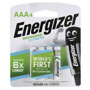 Energizer Recharge Aaa Nh12 4 Pack Batteries 800 Mah 1.2 Volts Power Supply