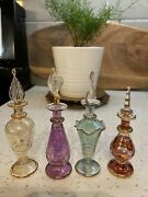 4 Egyptian Glass Perfume Bottles Fancy Gold Accent