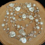 42 Cultured White Keshi Pearl White Gold Plated Cz Pave Chain Long Necklace