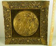 Antique Victorian Ornate Bronze Frame Plaque Adam And Eve Expulsion 17and039and039 X 17and039and039