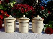 3 Superb Antique Enameled French Canisters Japy Ivory Golden 1940s Rare