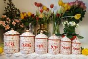 6 Antique Enameled French Canisters Red And White Marbled Art Deco 1930s