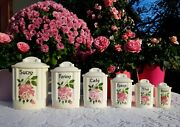 6 Lovely Antique French Canisters Ditmar Urbach Pink Roses Art Deco 1940s-1950s
