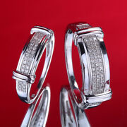 Lover Sets Pave Natural Diamond 925 Silver Wedding Engagement Wedding Fine Ring