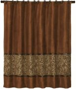 Luxury Designer Rustic Brown Fabric Shower Curtain 72 X 72 Faux Leather W Hooks
