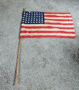 Vintage Wwii Or Later 48 Star Usa Flag 33 X 22 With Original Wooden Pole And Cap