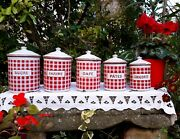 5 Antique Enameled French Canisters Bb Freres Red And White Strips Art Deco 1930