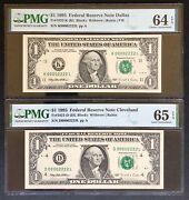 00002222 In Brand New Pmg Holders Matching Fancy Double Quad Serial 2-note Set