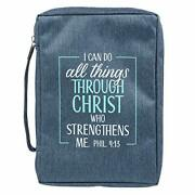Medium Blue Canvas Bible Cover I Can Do All Things Philippians 413 Zippered