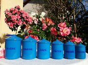 6 Stunning Antique Enameled French Canisters Turquoise Blue Art Deco 1930 Signed