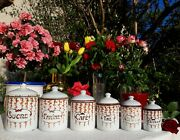Rare 6 Antique Enameled French Canisters Orange Flower Garlands Art Deco 1930