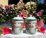 Very Rare 2 Antique Enameled French Japy Canisters Pansies 1920s No Coffee Pot