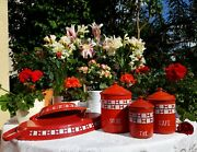3 Antique Enameled French Canisters And 2 Dishes Red White Checks Art Deco 1930s