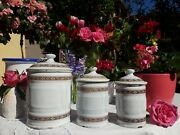 3 Antique Enameled French Canisters Luc White Floral Friezes 1930s Very Rare