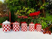5 Antique Enameled French Canisters Lustucru Red And White Checks Art Deco 1930