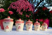 5 Stunning Antique French Majolica Canisters Pink Roses Art Deco 1930s Rare