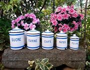 5 Antique Enameled French Canisters White And Blue Strips 1920-1930s